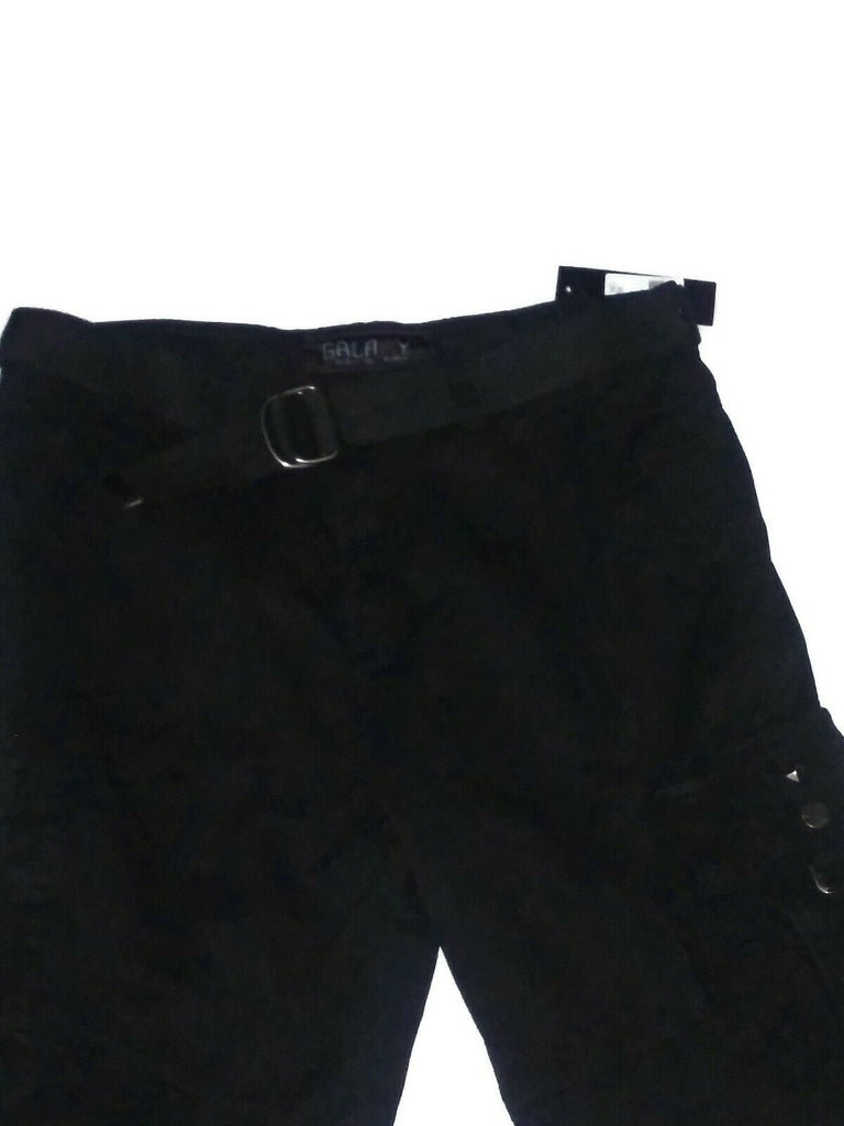 Galaxy By Harvic Men's Cargo Belted Shorts Distressed Size 32 Black