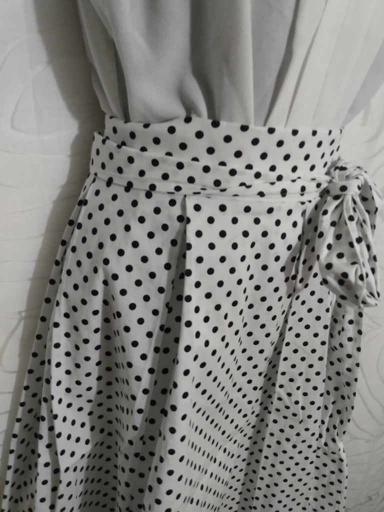 See You Monday Los Angeles Women's Polka Dot Skirt Elastic Waist L White/Black
