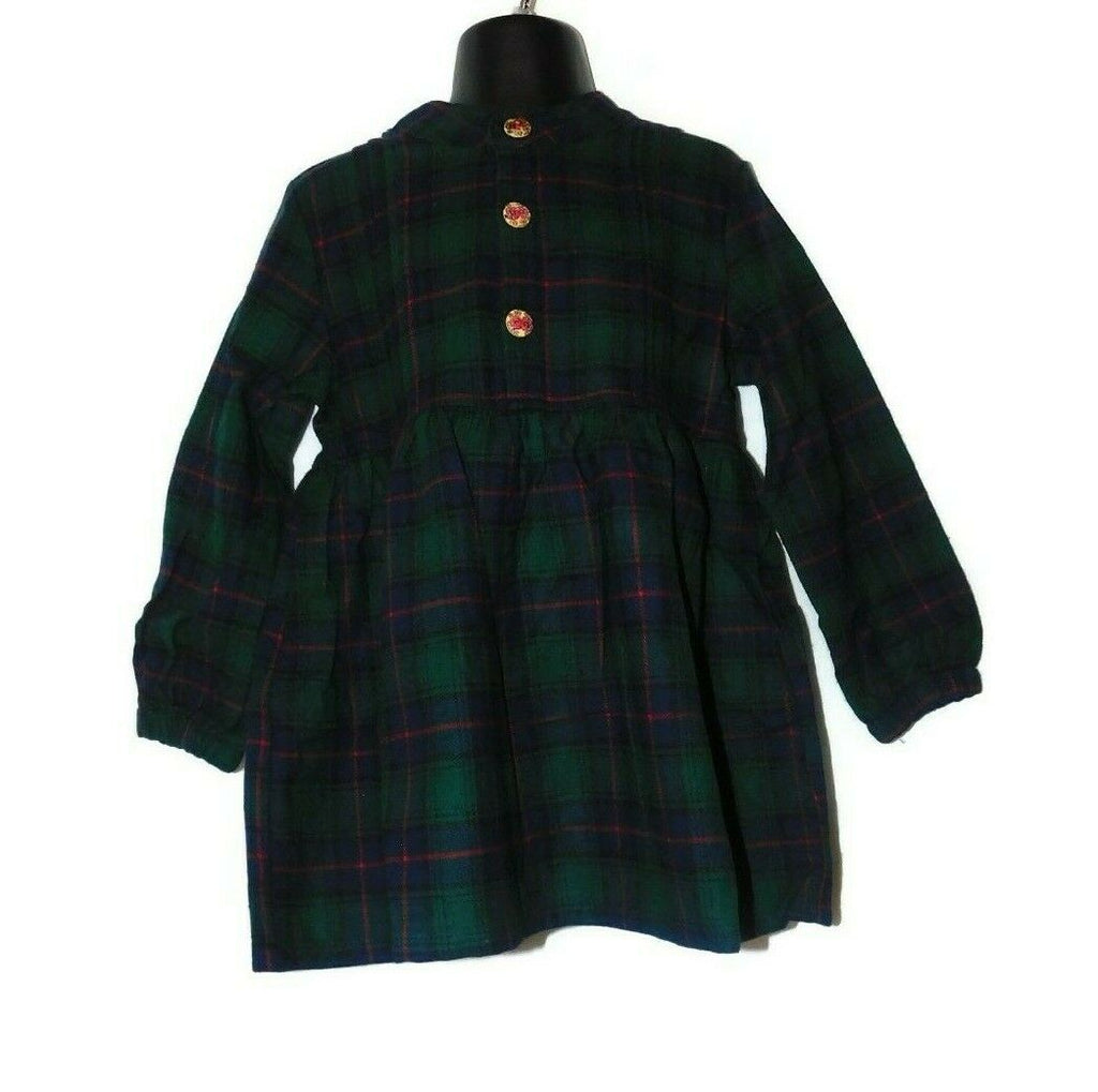 Sense Fit Kids Girls Long Sleeve Checkered Plaid Dress Size 3-8 Years Green