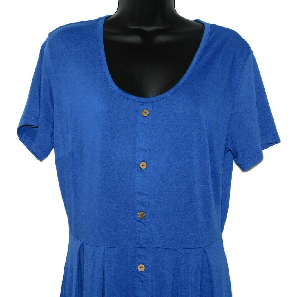 Unbranded Women's Elastic Waist Side Pockets Short Sleeve Dress Medium Blue