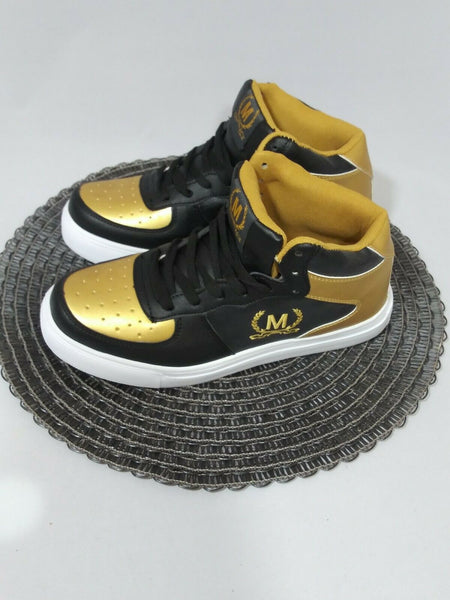 Crown Kicks Women's High Top Sneakers Black/Gold/White