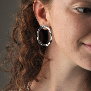 Handmade Recycled Silver Beautiful Hammered Hoops Studs - Sjaan Maia Jewellery - Geelong Victoria Australia