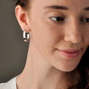 Handmade Recycled Silver Beautiful Hammered Hoops Studs - Sjaan Maia Jewellery - Geelong