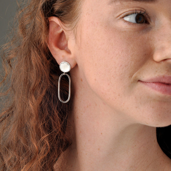 Handmade Recycled Silver Beautiful Sunshine Dangly Studs Hoops Round - Sjaan Maia Jewellery - Geelong Victoria Australia