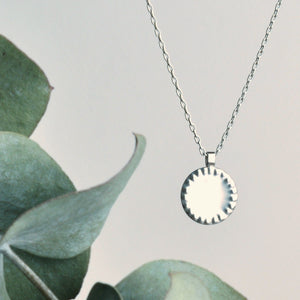 Handmade Recycled Silver Beautiful Sunshine Round Stamped Necklace Chain - Sjaan Maia Jewellery - Geelong Victoria Australia
