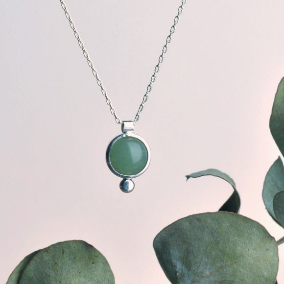 Handmade Recycled Silver Beautiful Round Stone Necklace with Drop - Sjaan Maia Jewellery - Geelong