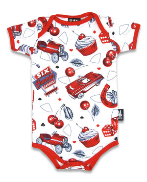 Six Bunnies Cherry Garage Romper