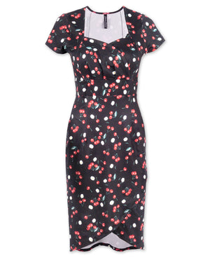 Liquorbrand Daisy Cherry Black Dress