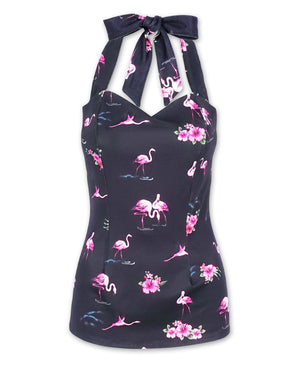 Liquorbrand Black Flamingos Halter Tank Top