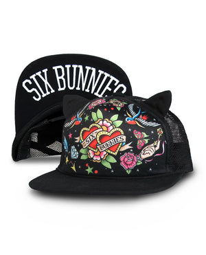 Six Bunnies Black Tattooed Heart with Ears Hat