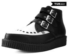 TUK Black and White Skin 3-Buckle Pointed Creeper Boot
