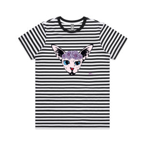 Womens Black and White Stripe Cat Tee