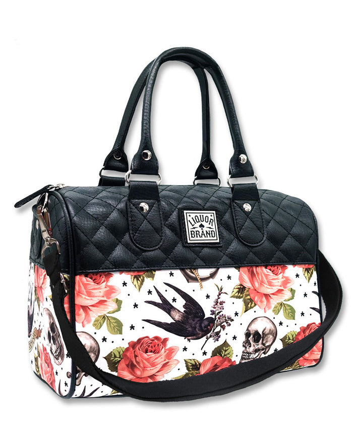 Liquorbrand Rose Tattoo White Quilted Round Bag