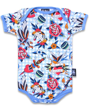 Six Bunnies Tattoo Shoppe Blue Romper