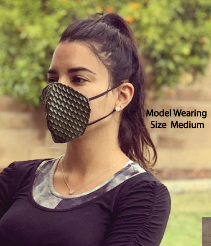 Green Pleather Scale Face Mask