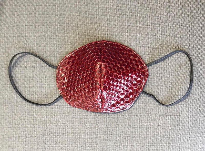 Red Pleather Hex Face Mask