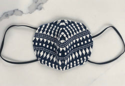 Blue and White Knitted Texture Face Mask
