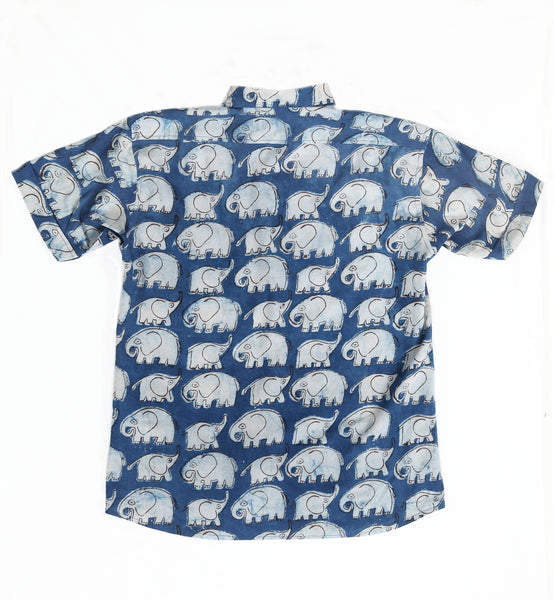 Short Sleeve Shirt with Natural Dye - Elephant Motif Hand-Blockprinted Cotton