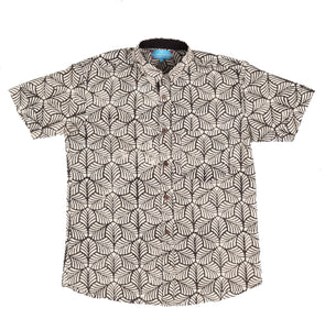 Short Sleeve Shirt with Natural Dye - Mosaic Motif Hand-Blockprinted Cotton