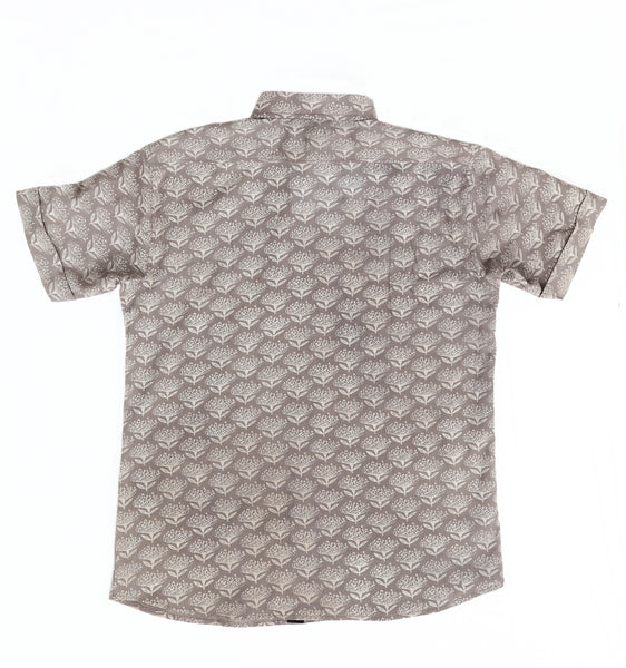 Short Sleeve Shirt with Natural Dye - Flowers Motif Hand-Blockprinted Cotton