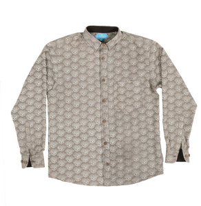 Long Sleeve Shirt with Natural Dye - Flowers Motif Hand-Blockprinted Cotton