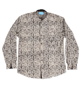 Long Sleeve Shirt with Natural Dye - Mosaic Motif Hand-Blockprinted Cotton