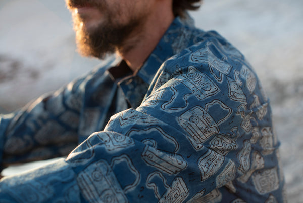 Long Sleeve Shirt with Natural Dye - Audiotape Motif Hand-Blockprinted Cotton
