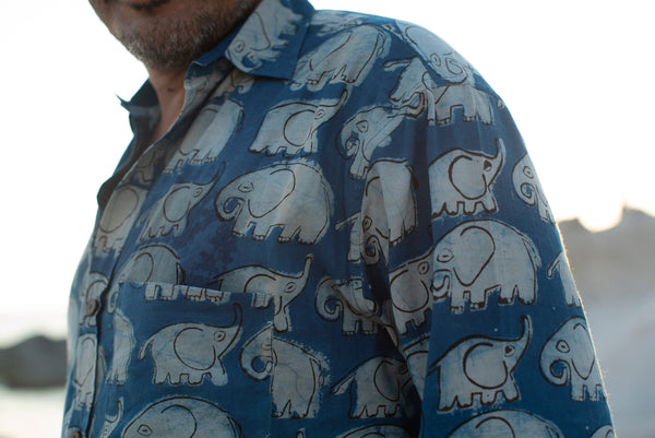 Men's Shirt Long Sleeve Natural Dye - Elephant Motif Hand-Blockprinted Cotton