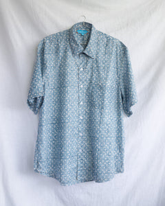 Men's Casual Short Sleeve Shirt - Blue with White Floral Vines Motif Hand-Blockprinted Cotton