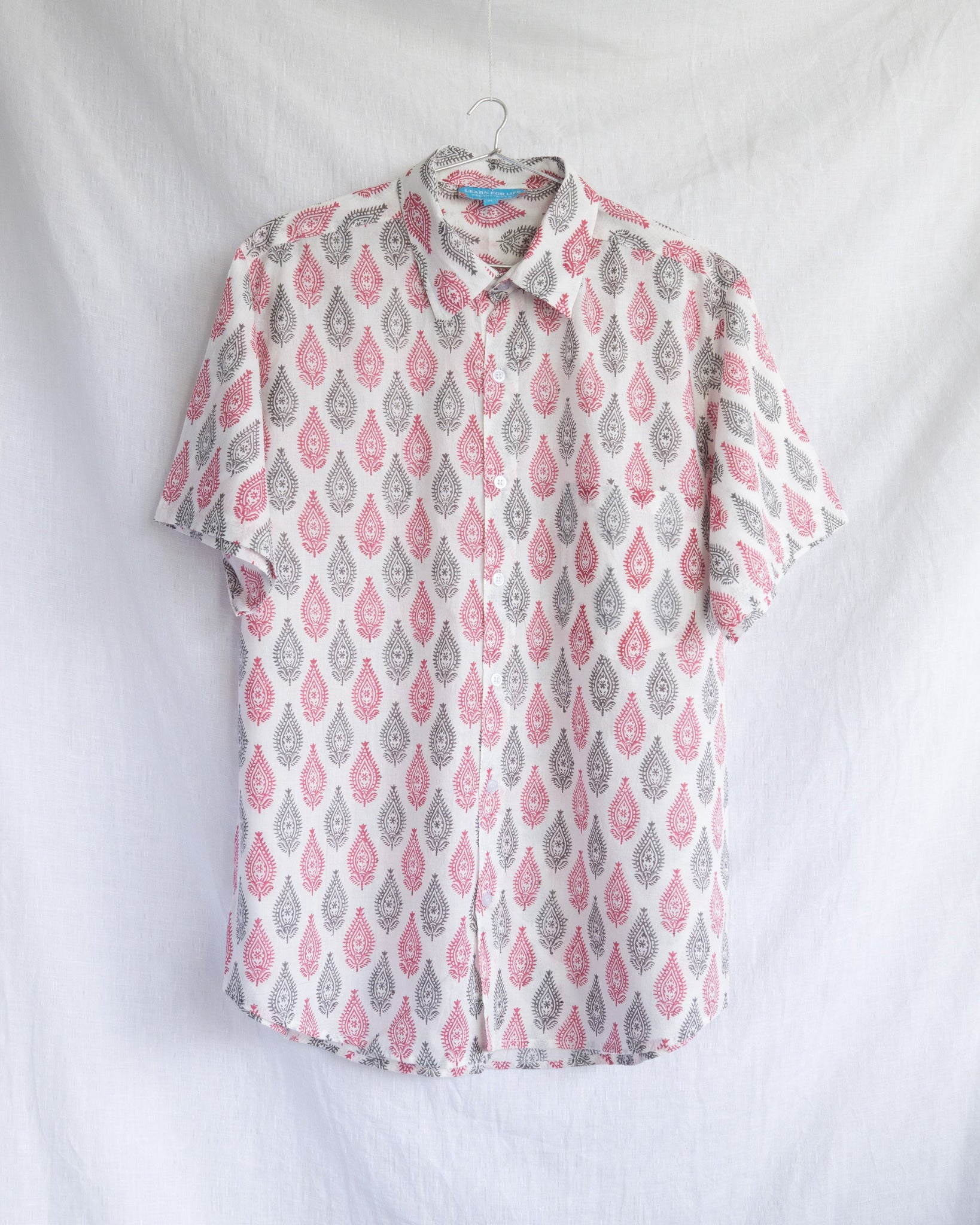 Men's Casual Short Sleeve Shirt - Red and Grey Sanganeri Buti Motif Hand-Blockprinted Cotton