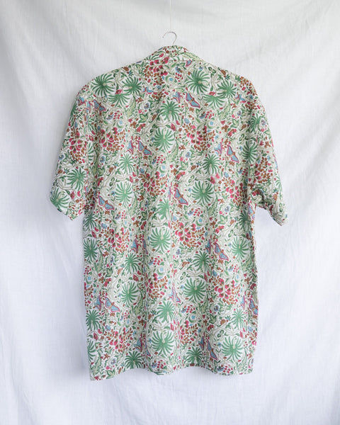 Men's Casual Short Sleeve Shirt - Green, Red, Brown and Blue, Blooming Desert Motif Hand-Blockprinted Cotton