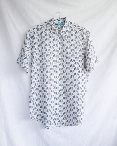 Men's Casual Short Sleeve Shirt - White with Blue and Grey Flowers Hand-Blockprinted Cotton