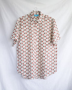 Men's Casual Short Sleeve Shirt - Natural with Green and Red Flowers Hand-Blockprinted Cotton