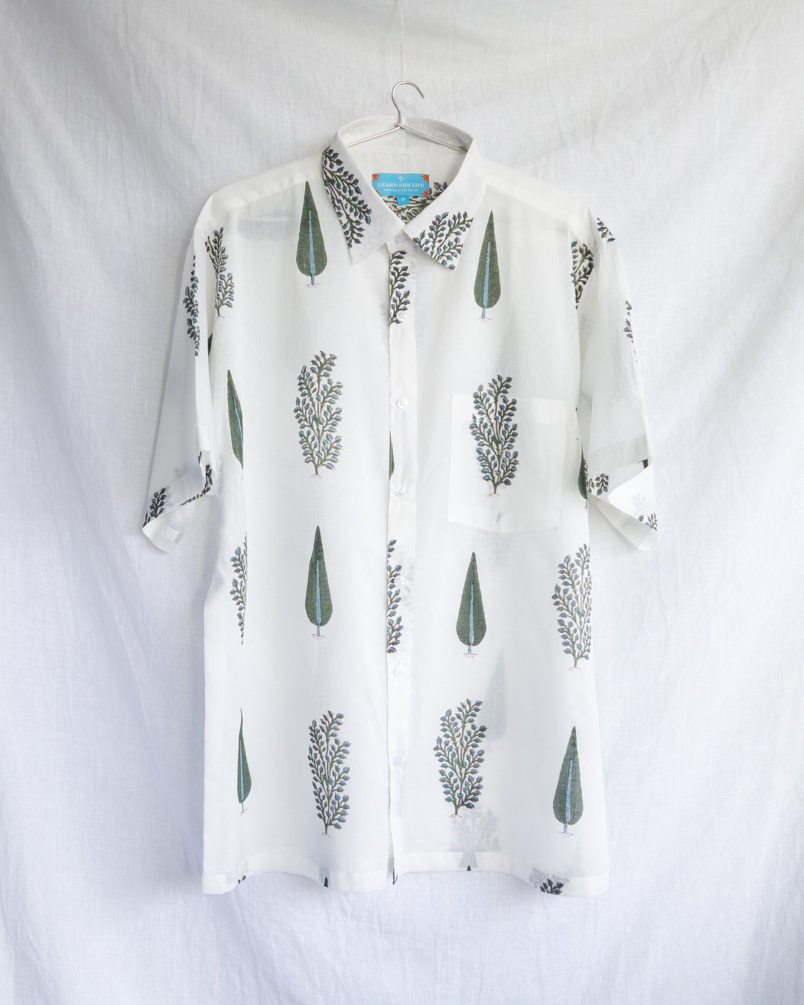 Men's Casual Short Sleeve Shirt - White with Botanical Motif Hand-Blockprint Cotton