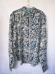 Men's Casual Long Sleeves  Shirt Blue Indigo with Floral Motif - Blockprinted Cotton