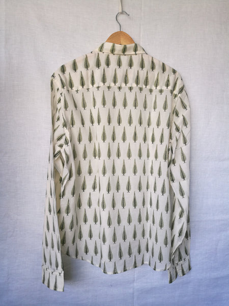 Men's Casual Long Sleeves Shirt with Green Leaf Motif - Blockprinted Cotton