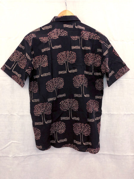 Men's Casual Short Sleeve Shirt - Black with White and Red Trees Motif Hand-Blockprinted Natural DyeCotton