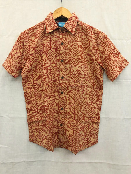 Men's Casual Short Sleeve Shirt - Red with Beige Leafs Mosaic Motif Hand-Blockprinted Natural Dye Cotton