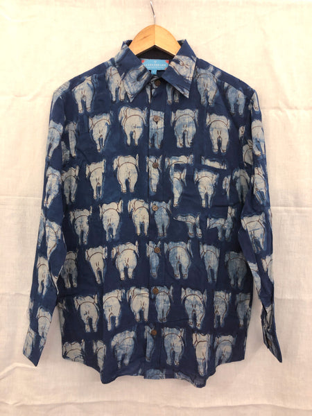 Men's Casual Long Sleeve Shirt - Blue with White Elephant Back Motif Hand-Blockprinted Cotton