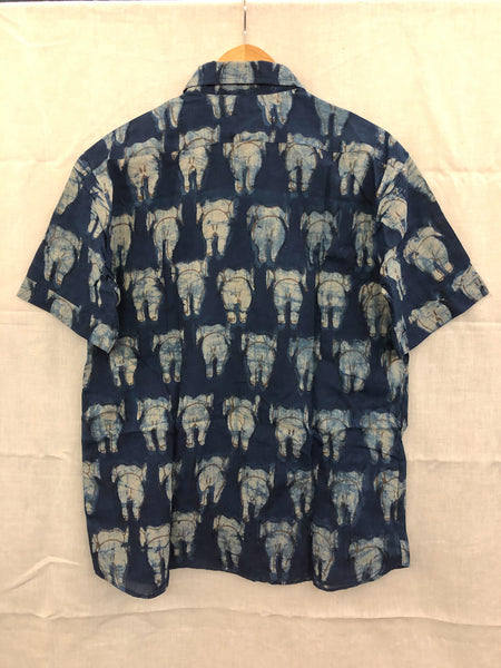 Men's Casual Short Sleeve Shirt - Blue with White Elephant Back Motif Hand-Blockprinted Natural Dye Cotton