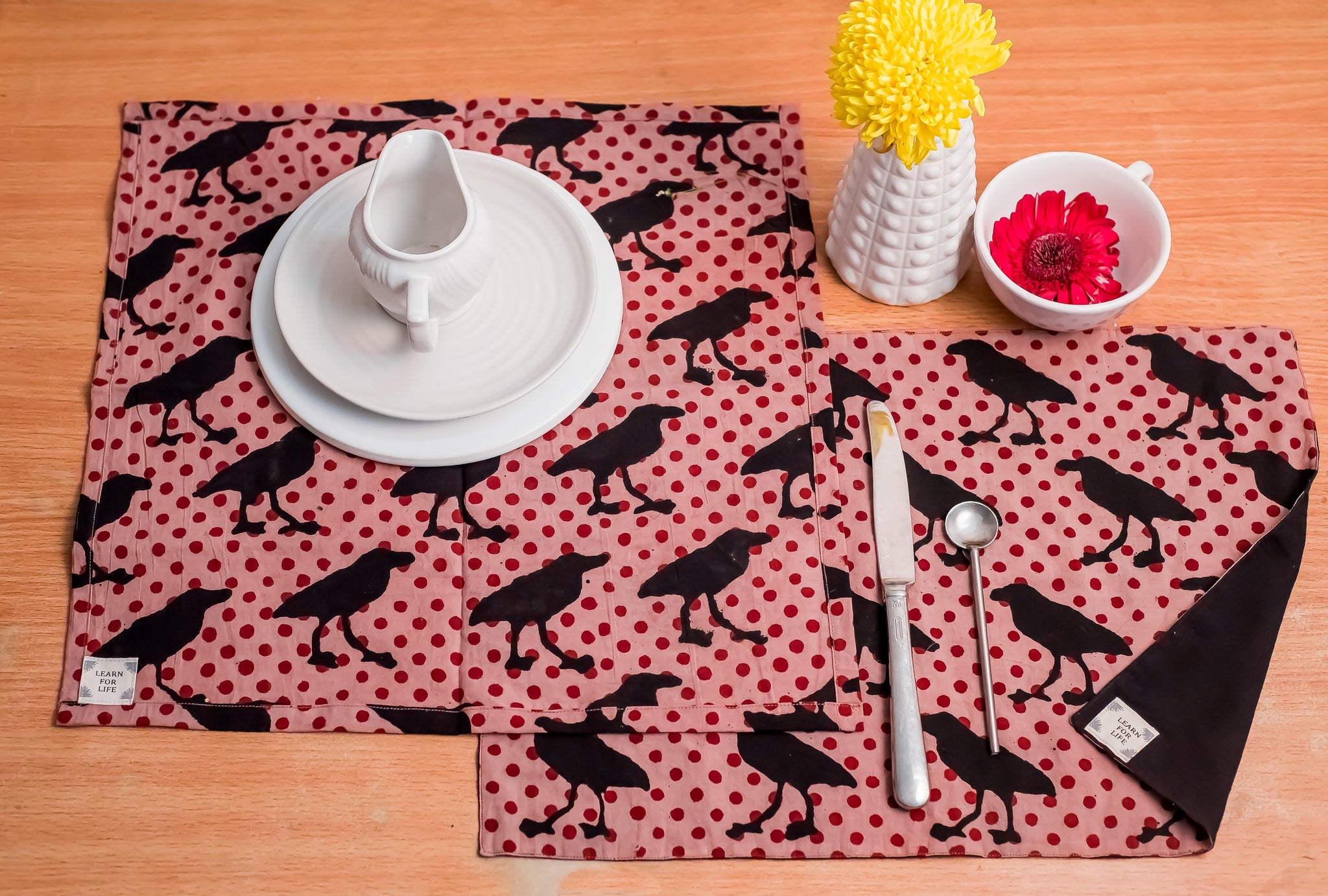 Table Set with Natural Dye- Crows Motif Hand Block Printed Cotton