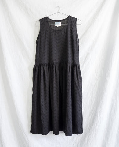 Chikankari Eyelet Embroidered Cotton Dress - Black