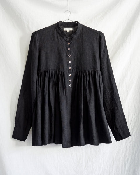 Linen Kediya Blouse - Black