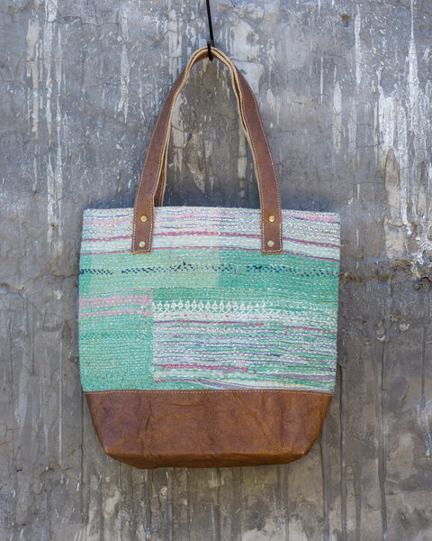 Vintage Kantha & Buffalo Leather Tote Bag - Short 2019 no.1