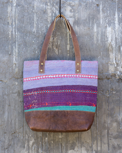 Vintage Kantha & Buffalo Leather Tote Bag - Short 2019 no.2
