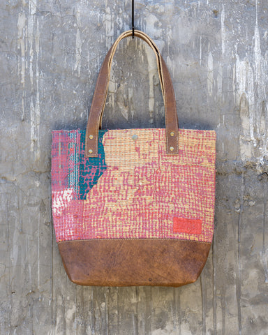 Vintage Kantha & Buffalo Leather Tote Bag - Short 2019 no.3