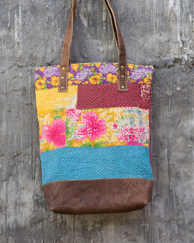 Vintage Kantha & Buffalo Leather Tote Bag - Tall 2019 no.1