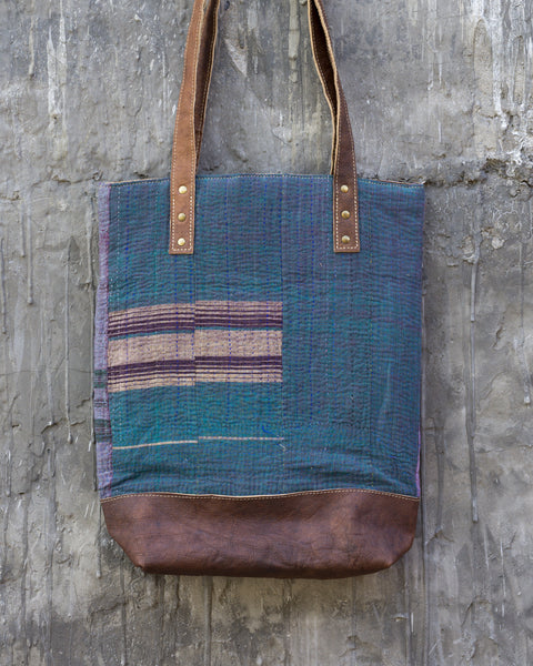 Vintage Kantha & Buffalo Leather Tote Bag - Tall 2019 no.2