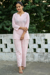 Night Suits- Pink Stripes Motif Blockprinted Cotton