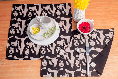 Table Set with Natural Dye- Bollywood Motif Hand Block Printed Cotton